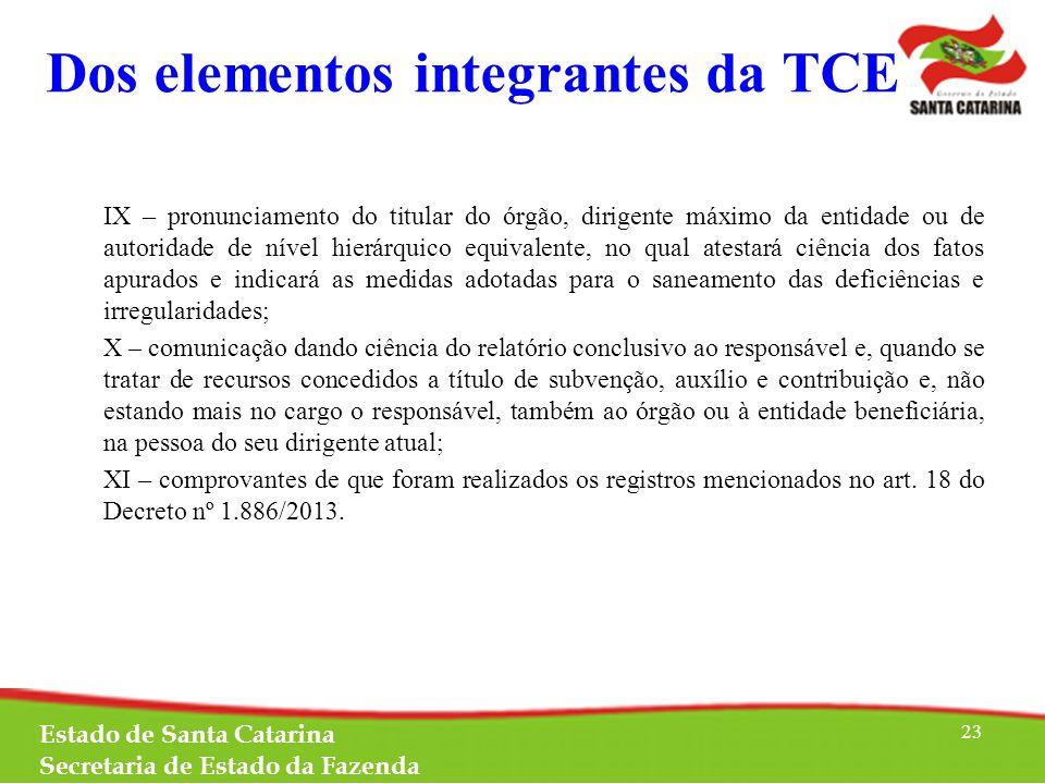 Dos elementos integrantes da TCE