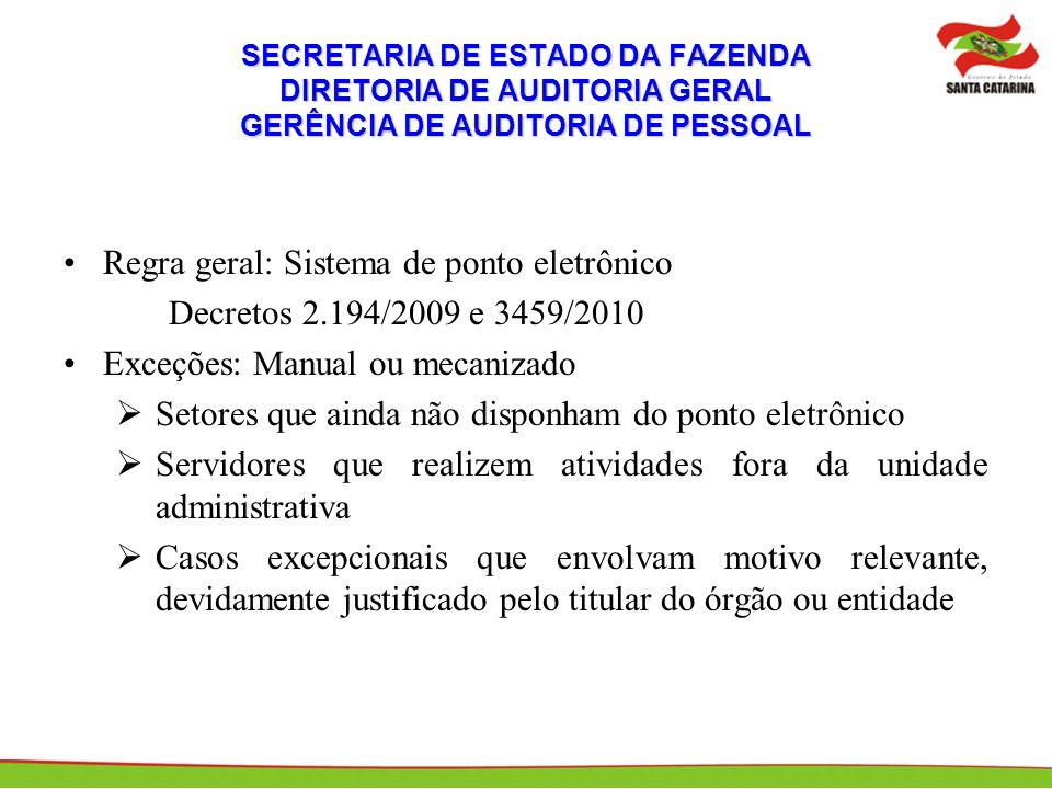 Regra geral: Sistema de ponto eletrônico