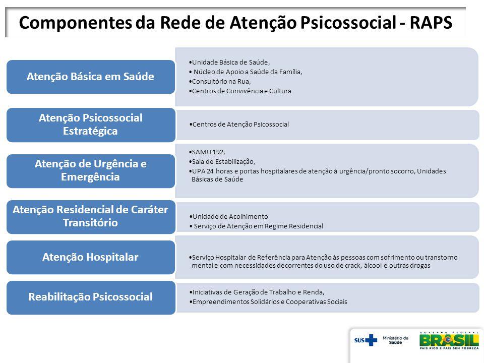 Componentes da Rede de Atenção Psicossocial - RAPS