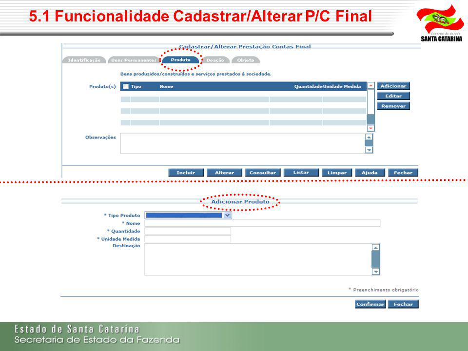 5.1 Funcionalidade Cadastrar/Alterar P/C Final
