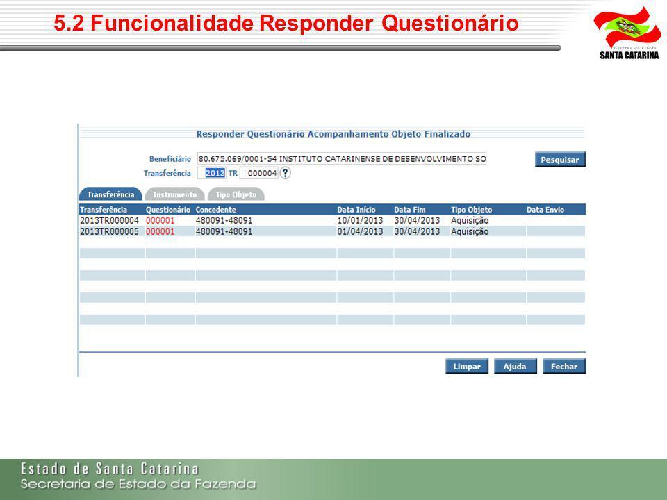 5.2 Funcionalidade Responder Questionário