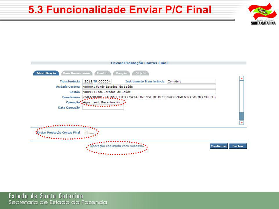 5.3 Funcionalidade Enviar P/C Final