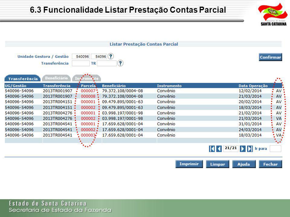 6.3 Funcionalidade Listar Prestação Contas Parcial