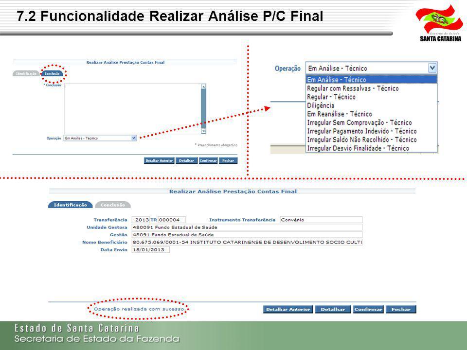 7.2 Funcionalidade Realizar Análise P/C Final