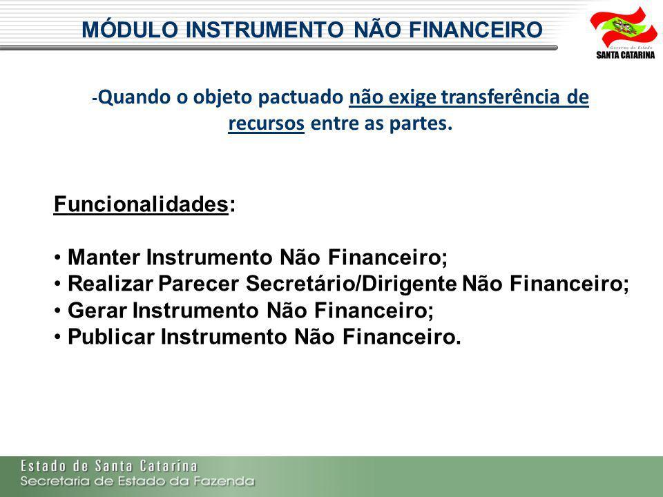 MÓDULO INSTRUMENTO NÃO FINANCEIRO