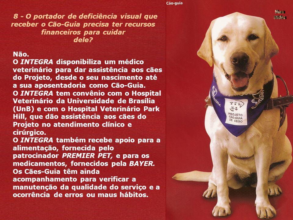 8 - O portador de deficiência visual que receber o Cão-Guia precisa ter recursos financeiros para cuidar