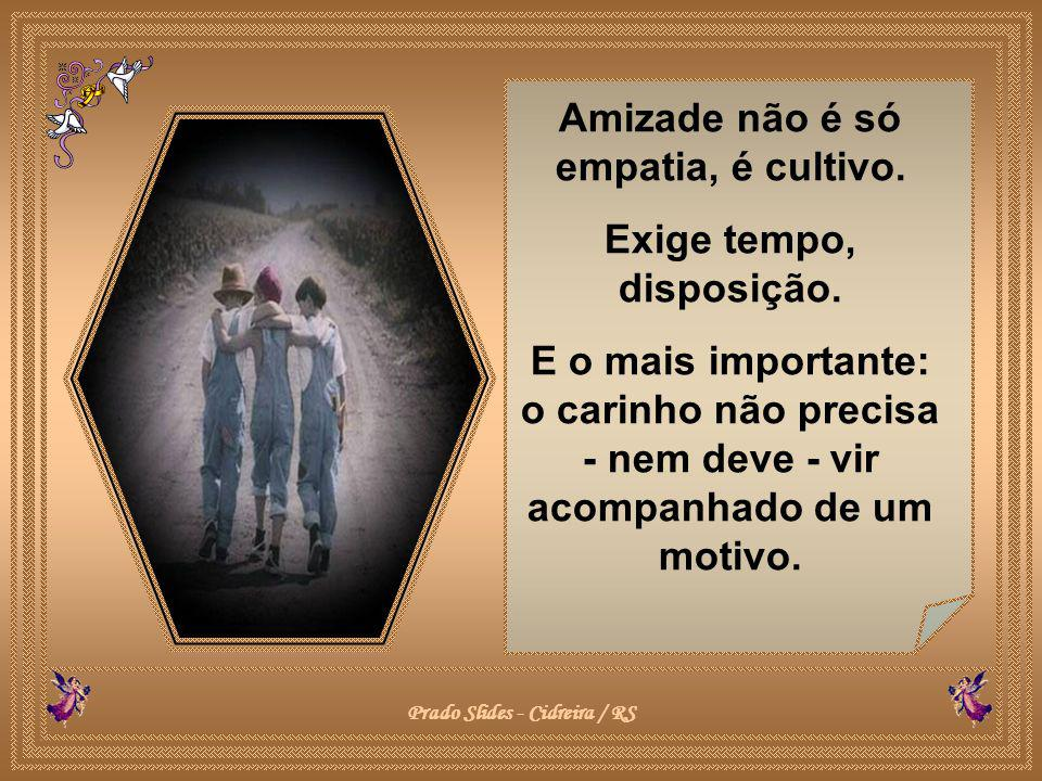 Amizade não é só empatia, é cultivo. Exige tempo, disposição.