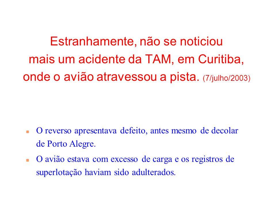 01/04/2017 Estranhamente, não se noticiou mais um acidente da TAM, em Curitiba, onde o avião atravessou a pista. (7/julho/2003)
