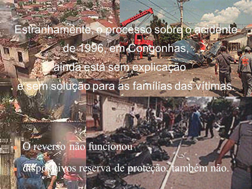 Estranhamente, o processo sobre o acidente de 1996, em Congonhas, ainda está sem explicação e sem solução para as famílias das vítimas.