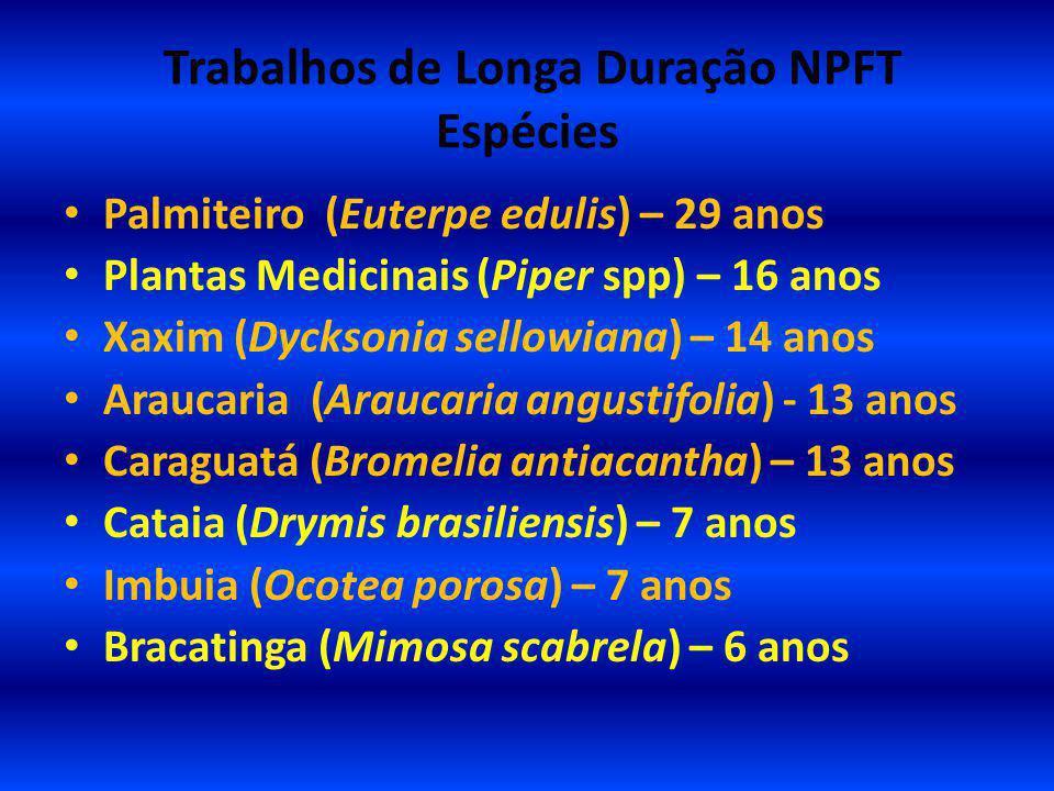 Trabalhos de Longa Duração NPFT Espécies