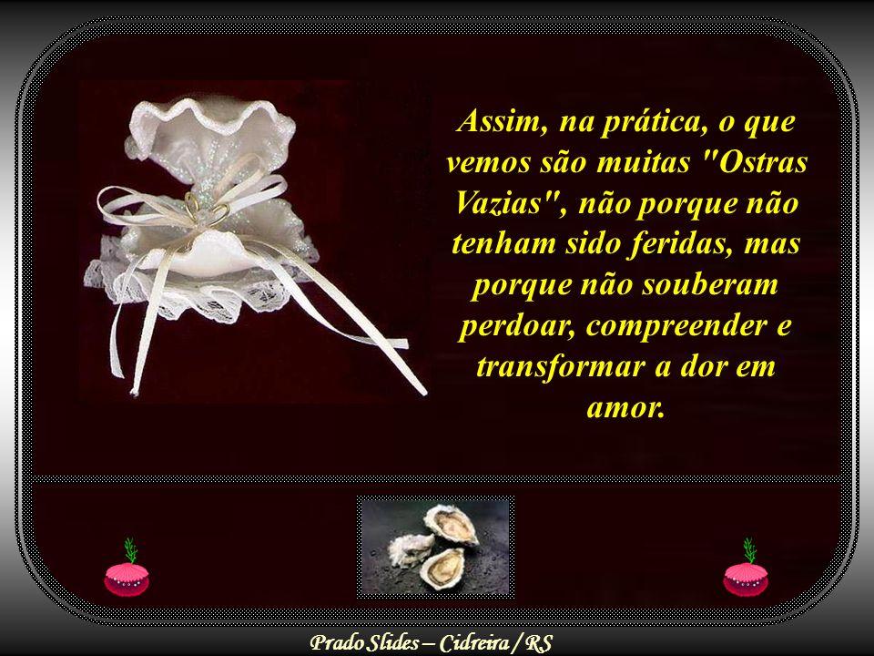 Assim, na prática, o que vemos são muitas Ostras Vazias , não porque não tenham sido feridas, mas porque não souberam perdoar, compreender e transformar a dor em amor.