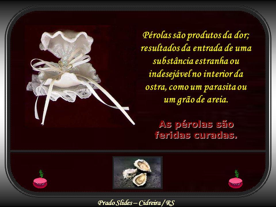 Pérolas são produtos da dor; As pérolas são feridas curadas.