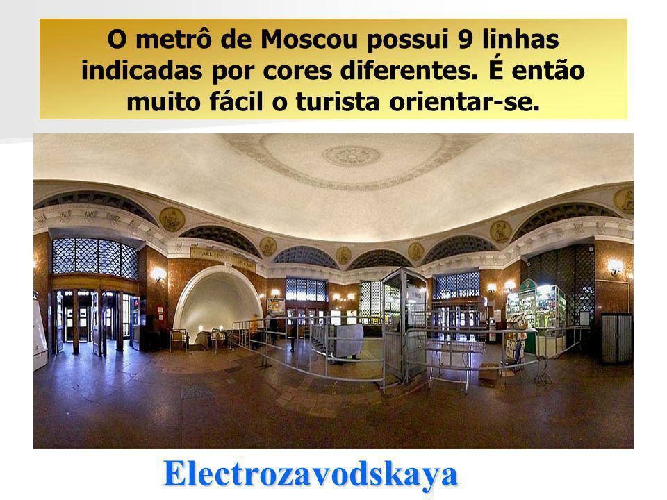 O metrô de Moscou possui 9 linhas indicadas por cores diferentes