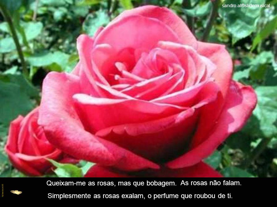 Queixam-me as rosas, mas que bobagem. As rosas não falam.