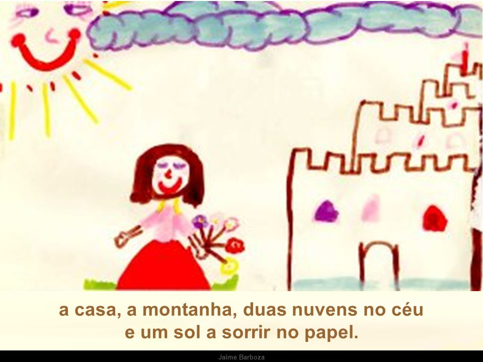 a casa, a montanha, duas nuvens no céu e um sol a sorrir no papel.