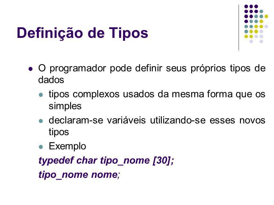 Definição de Tipos O programador pode definir seus próprios tipos de dados. tipos complexos usados da mesma forma que os simples.