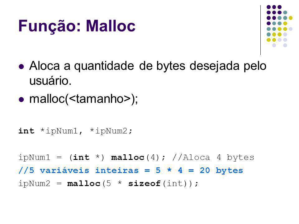 Função: Malloc Aloca a quantidade de bytes desejada pelo usuário.