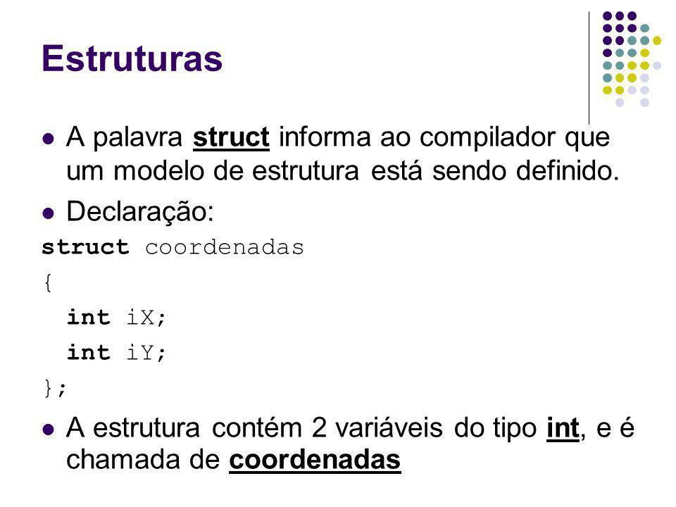 Estruturas A palavra struct informa ao compilador que um modelo de estrutura está sendo definido. Declaração: