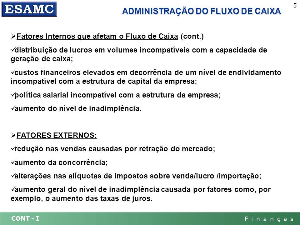 ADMINISTRAÇÃO DO FLUXO DE CAIXA