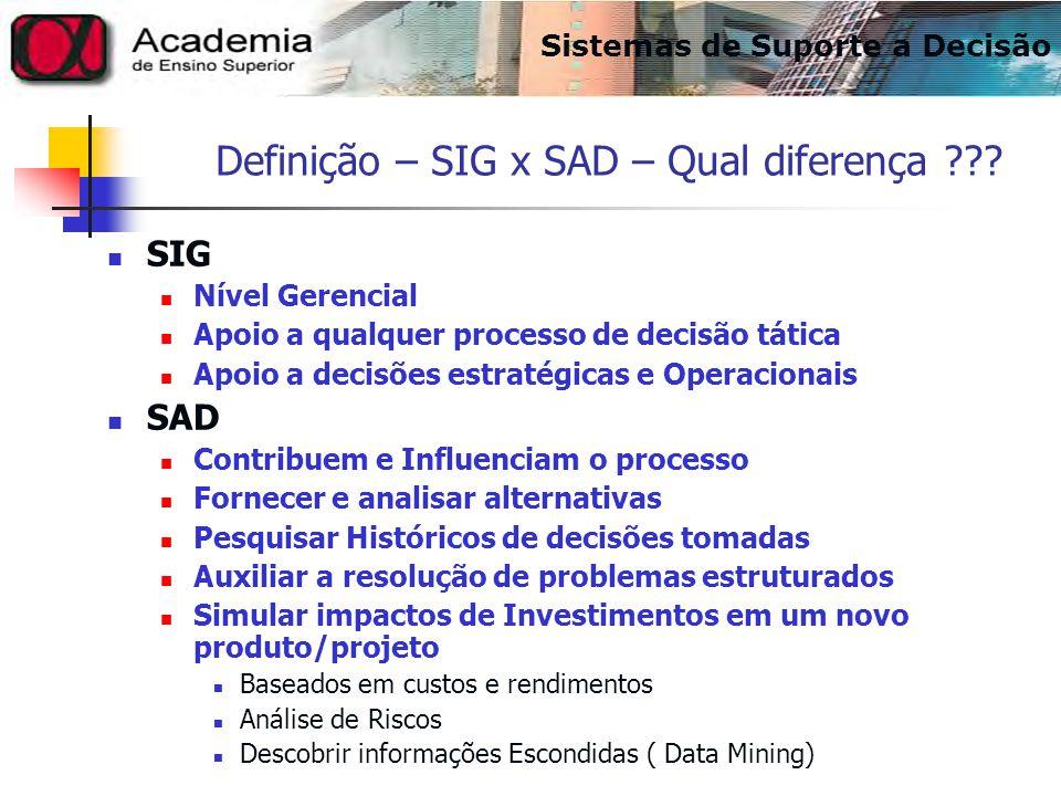Definição – SIG x SAD – Qual diferença