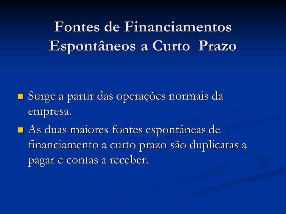 Fontes de Financiamentos Espontâneos a Curto Prazo