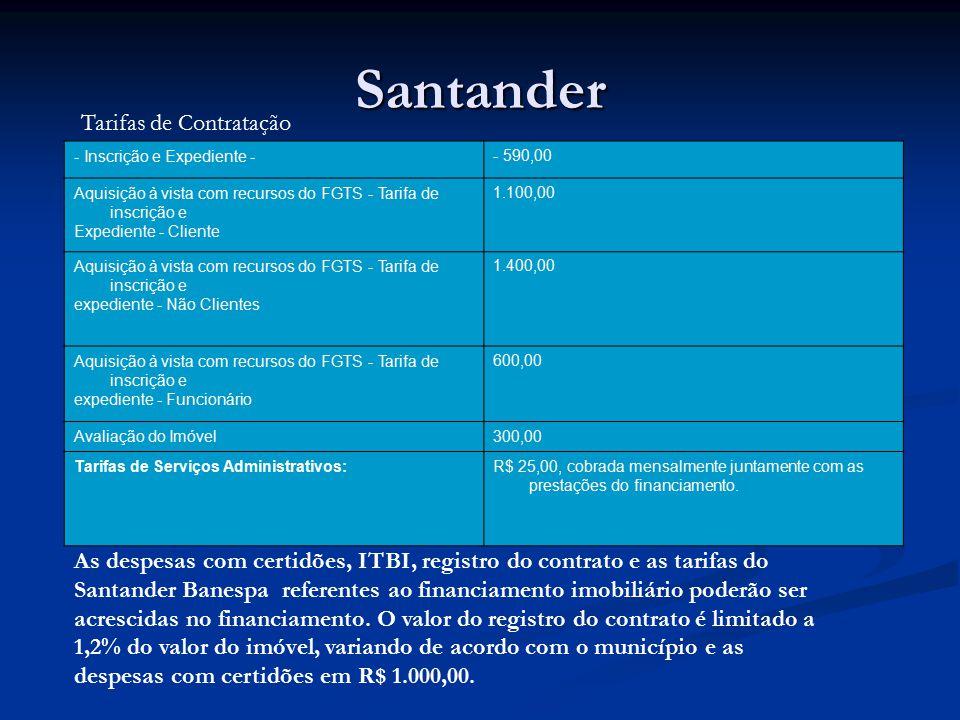 Santander Tarifas de Contratação