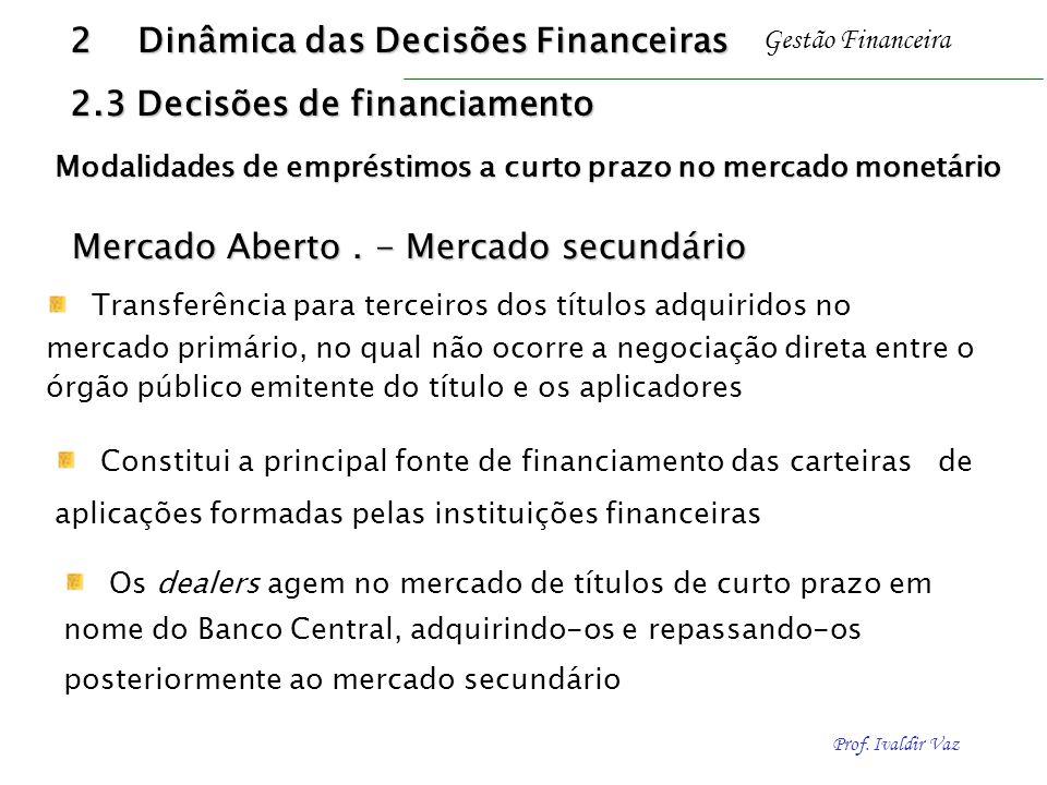 2 Dinâmica das Decisões Financeiras 2.3 Decisões de financiamento