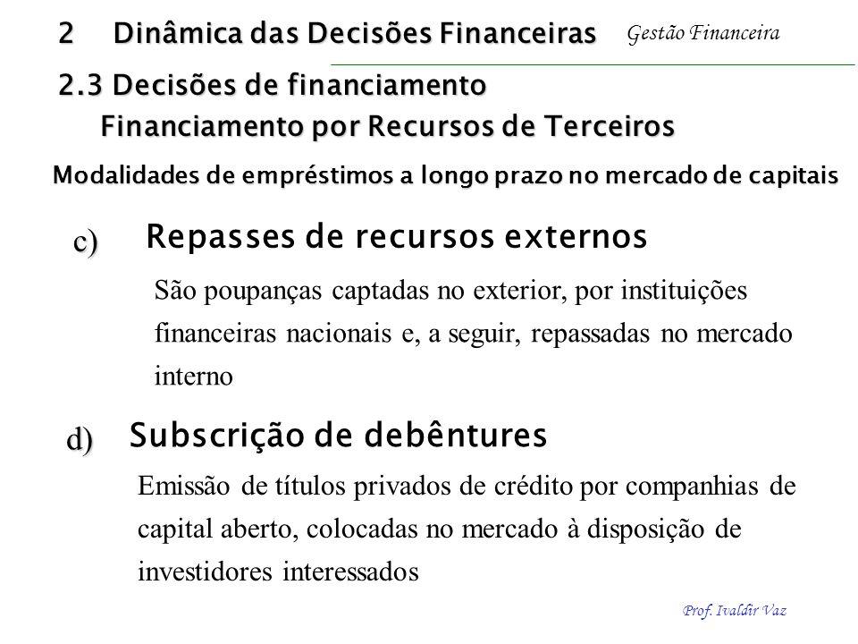 Repasses de recursos externos c)