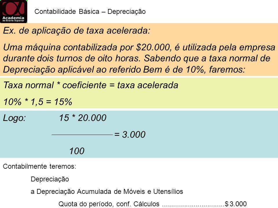 Ex. de aplicação de taxa acelerada: