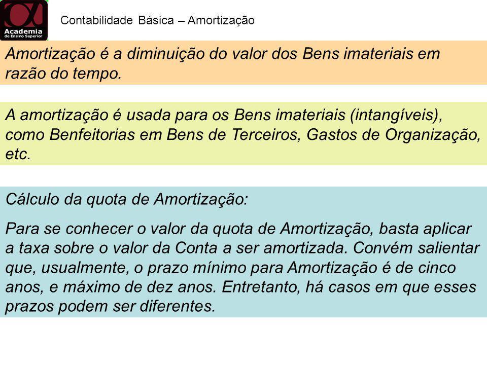 Cálculo da quota de Amortização: