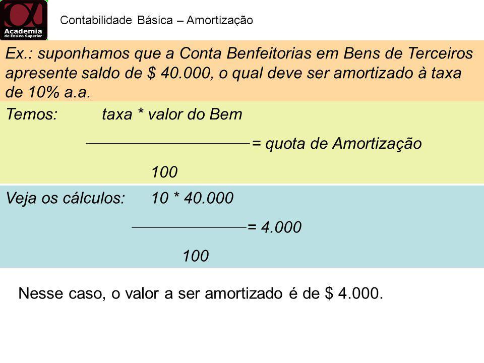 Temos: taxa * valor do Bem = quota de Amortização 100