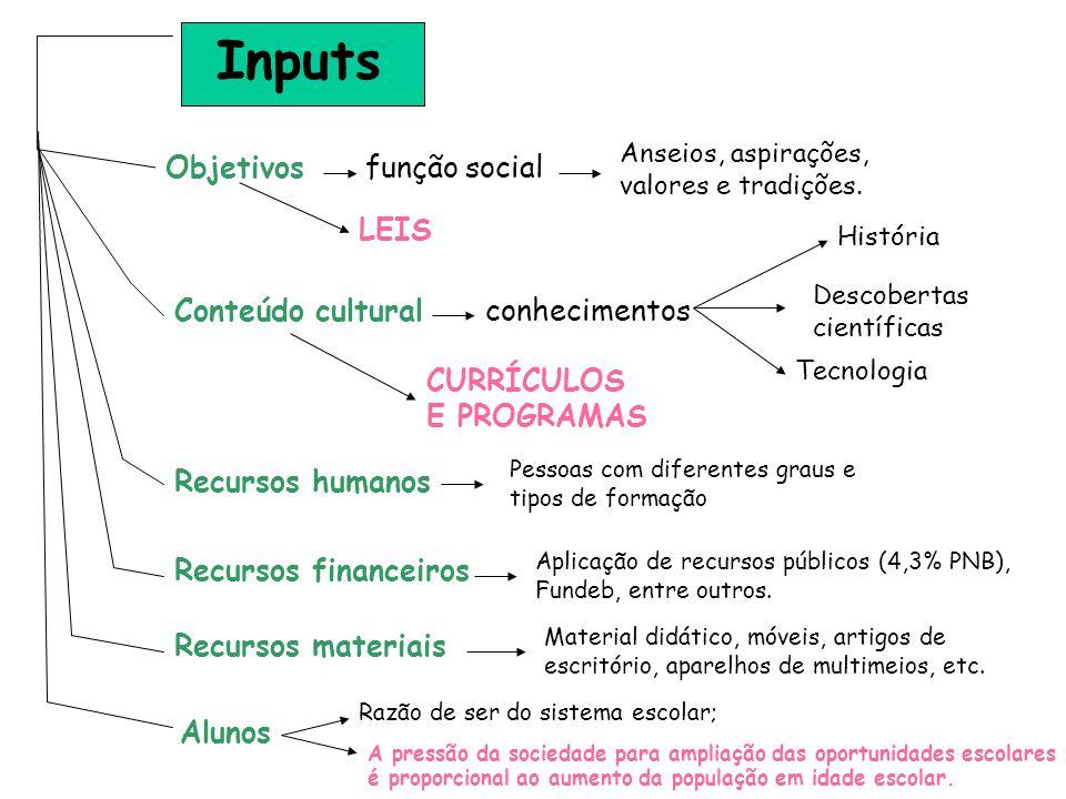 Inputs Objetivos função social LEIS Conteúdo cultural conhecimentos