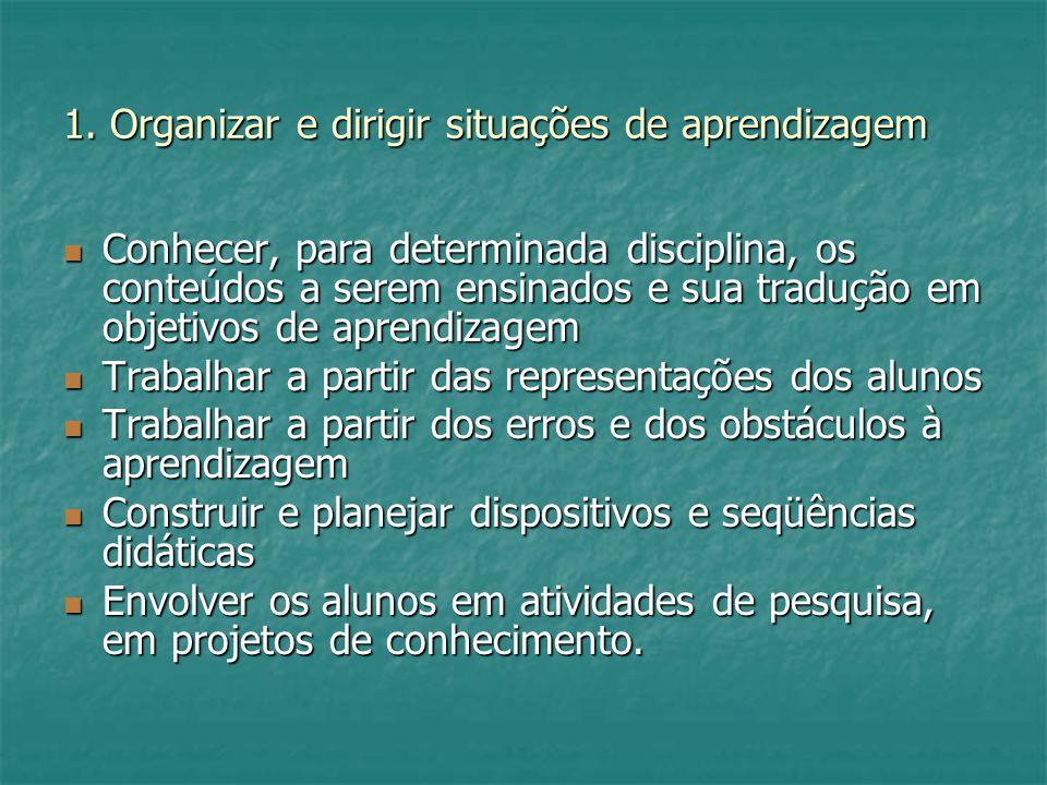 1. Organizar e dirigir situações de aprendizagem