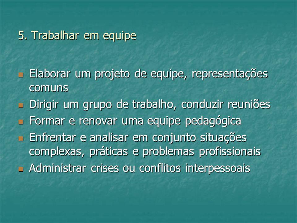 5. Trabalhar em equipe Elaborar um projeto de equipe, representações comuns. Dirigir um grupo de trabalho, conduzir reuniões.