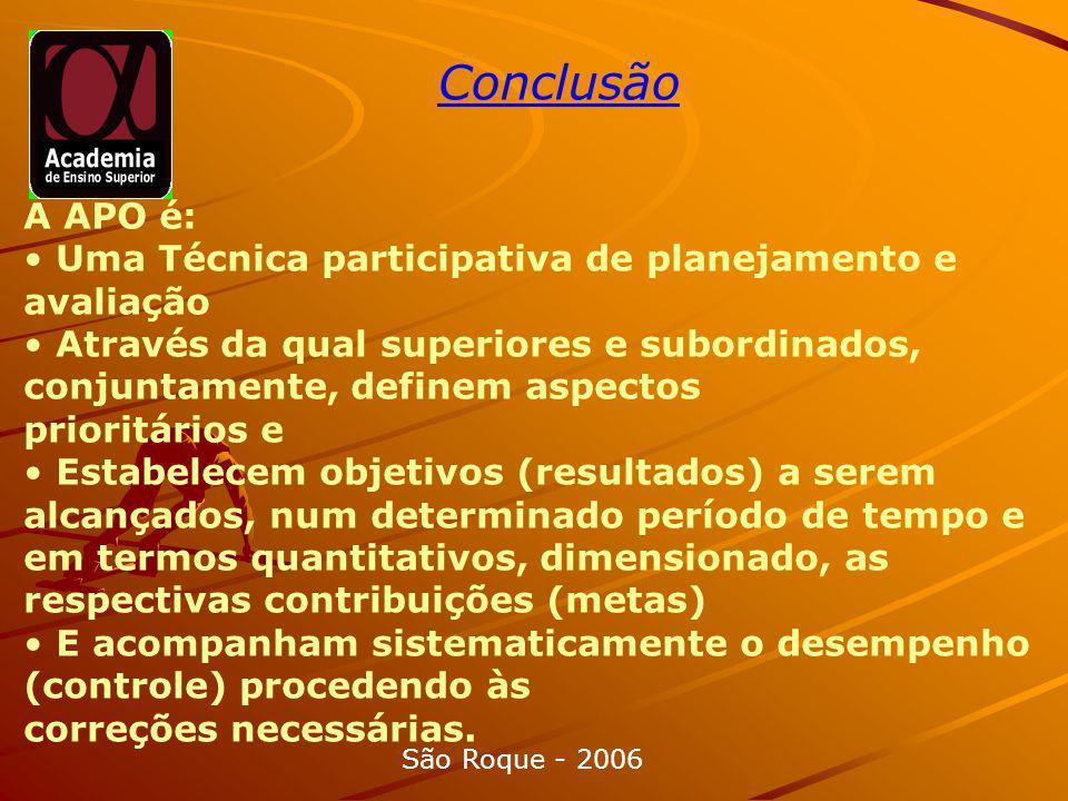 Conclusão A APO é: • Uma Técnica participativa de planejamento e avaliação.