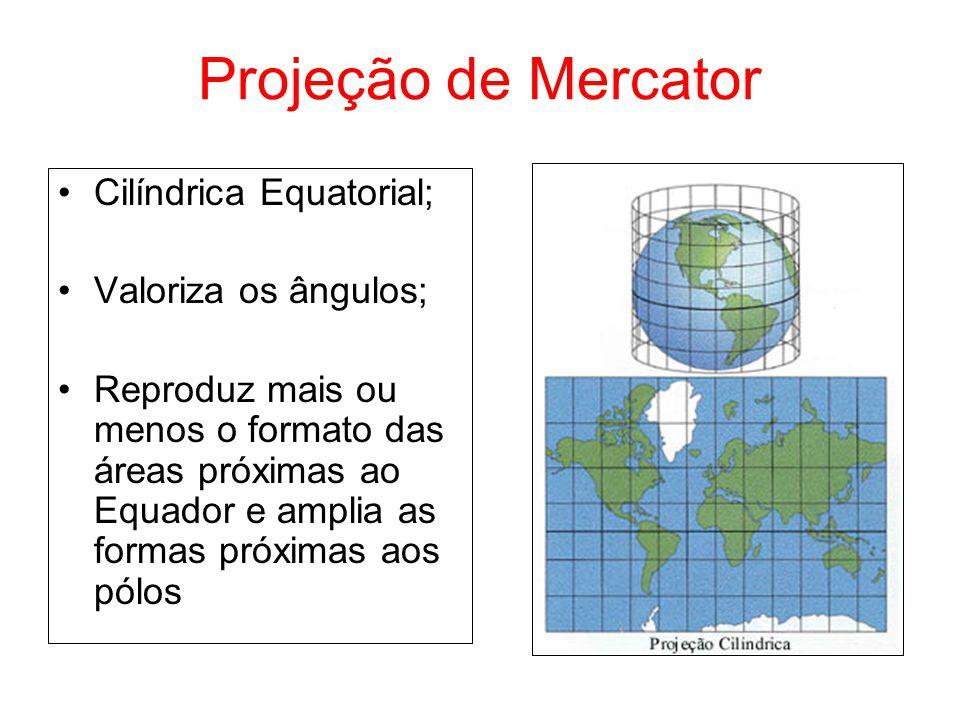 Projeção de Mercator Cilíndrica Equatorial; Valoriza os ângulos;