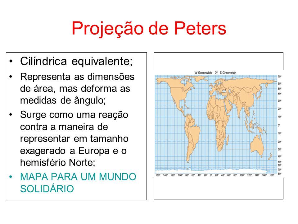Projeção de Peters Cilíndrica equivalente;