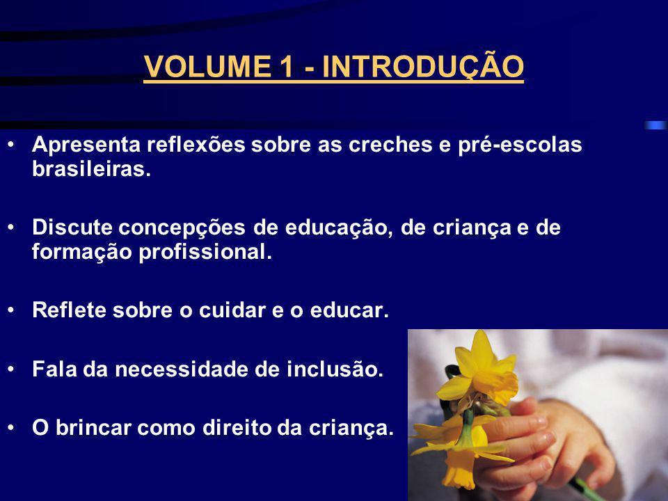 VOLUME 1 - INTRODUÇÃO Apresenta reflexões sobre as creches e pré-escolas brasileiras.