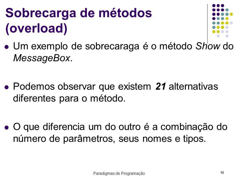 Sobrecarga de métodos (overload)