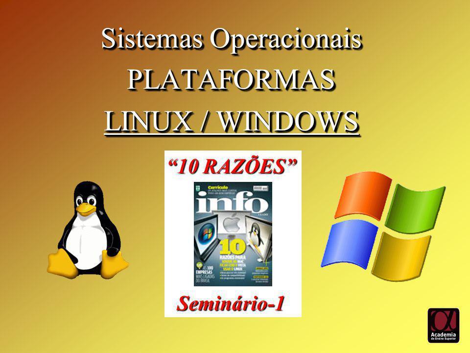 Sistemas Operacionais PLATAFORMAS LINUX / WINDOWS