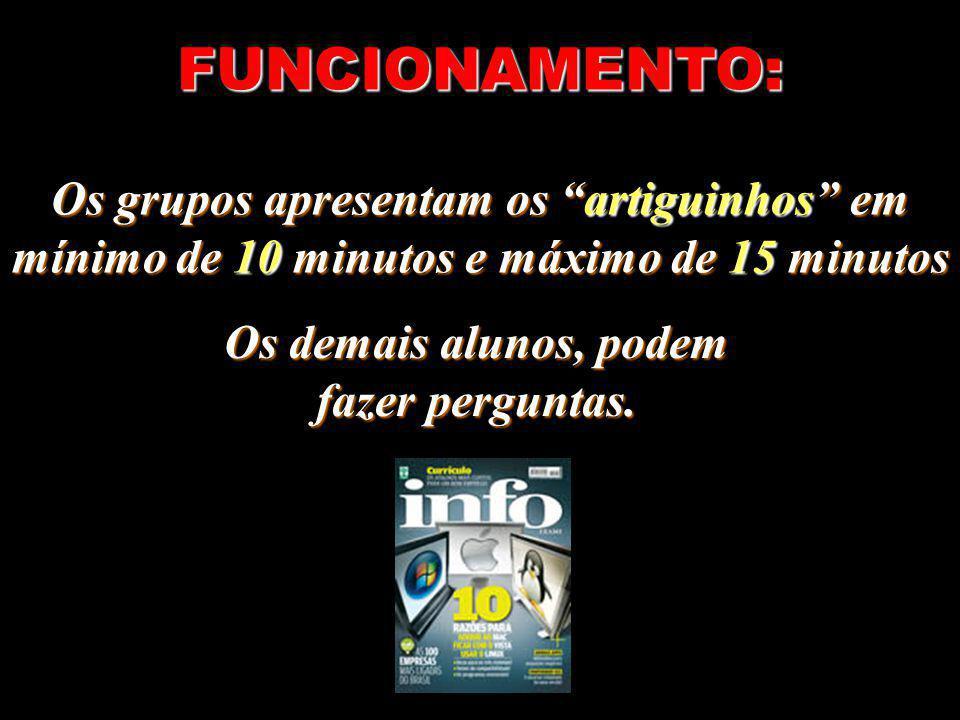 FUNCIONAMENTO: Os grupos apresentam os artiguinhos em mínimo de 10 minutos e máximo de 15 minutos.