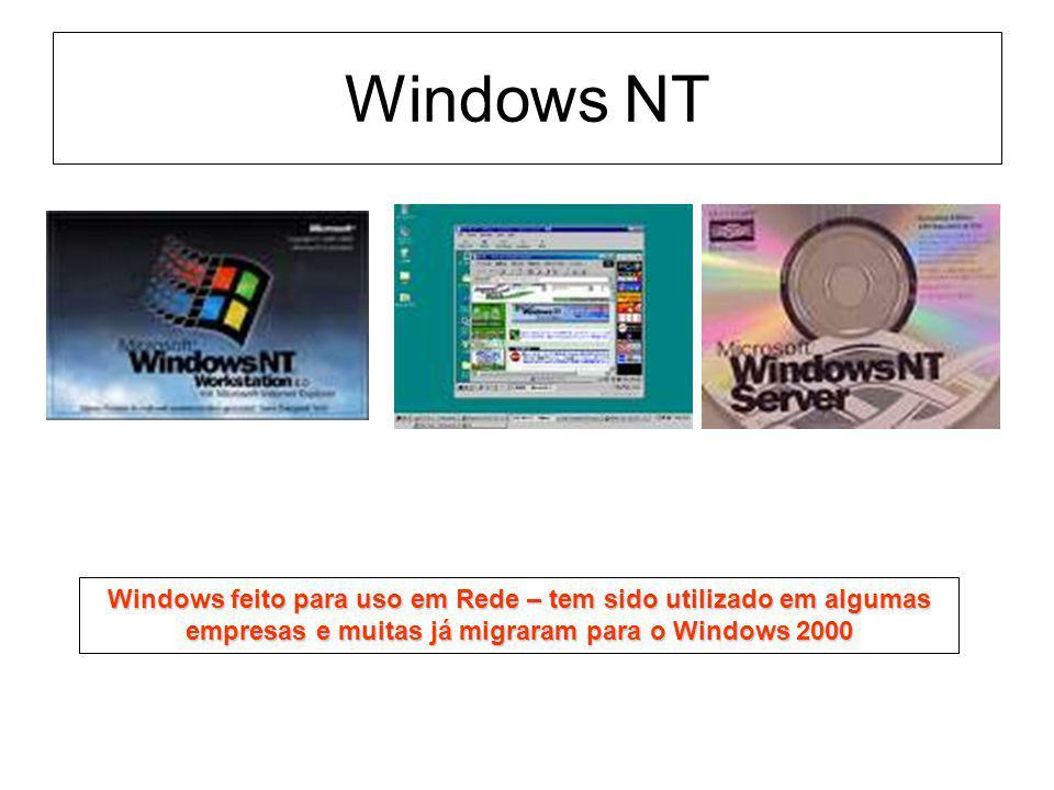 Windows NT Windows feito para uso em Rede – tem sido utilizado em algumas empresas e muitas já migraram para o Windows 2000.