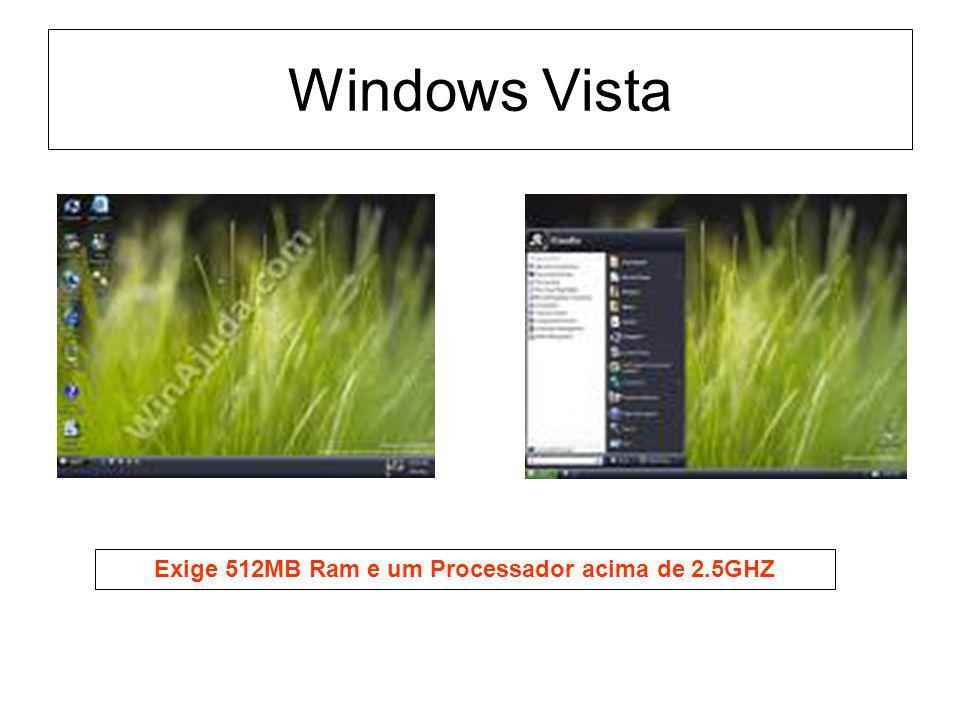 Exige 512MB Ram e um Processador acima de 2.5GHZ