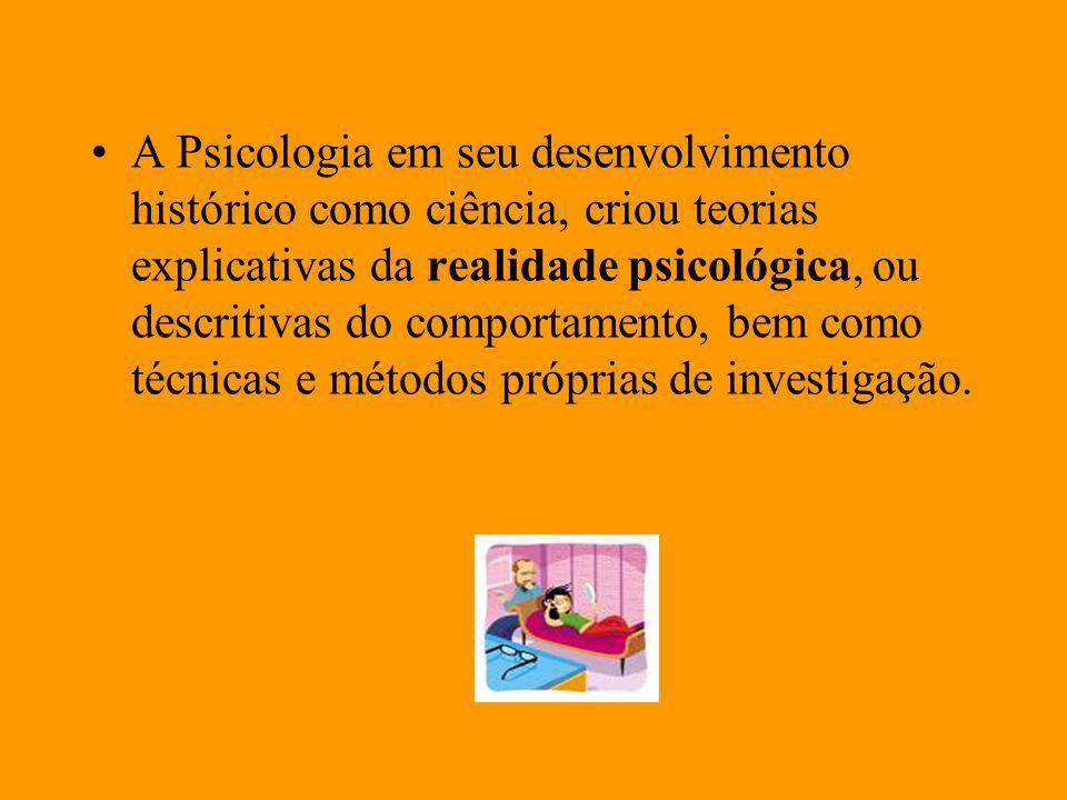 A Psicologia em seu desenvolvimento histórico como ciência, criou teorias explicativas da realidade psicológica, ou descritivas do comportamento, bem como técnicas e métodos próprias de investigação.