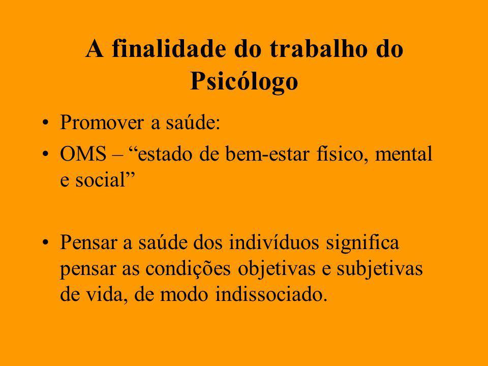 A finalidade do trabalho do Psicólogo