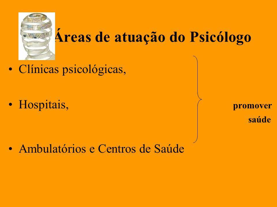 Áreas de atuação do Psicólogo