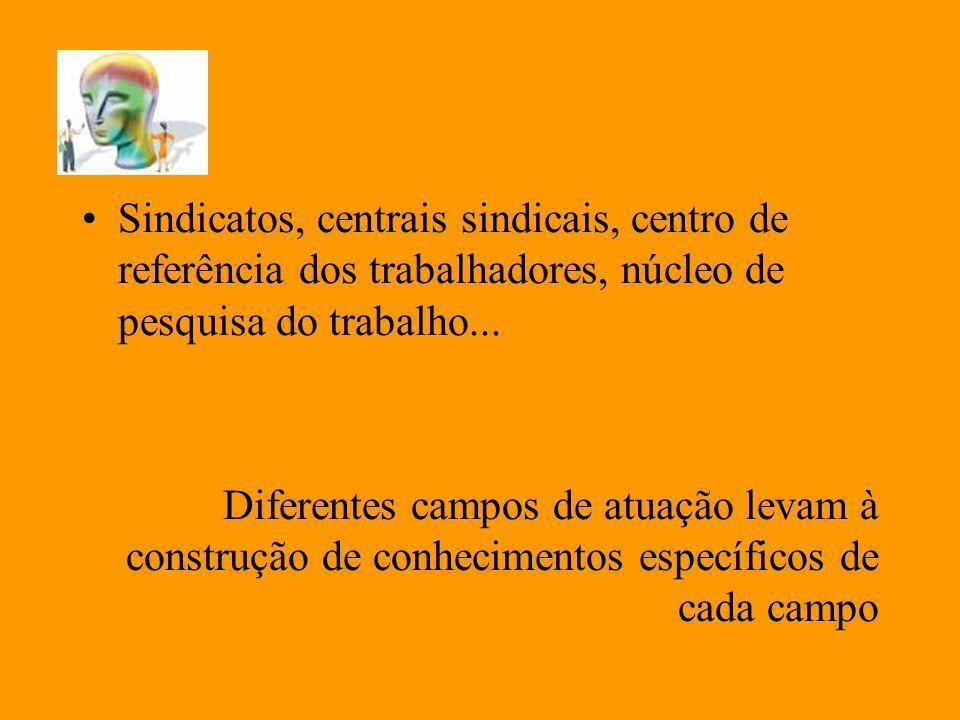 Sindicatos, centrais sindicais, centro de referência dos trabalhadores, núcleo de pesquisa do trabalho...