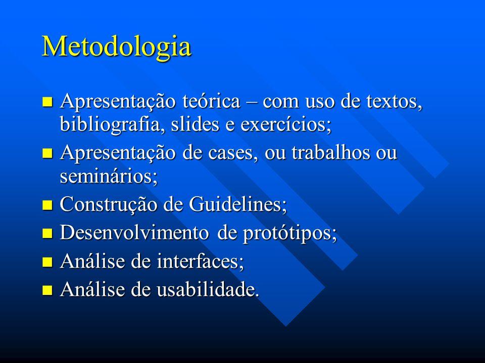 Metodologia Apresentação teórica – com uso de textos, bibliografia, slides e exercícios; Apresentação de cases, ou trabalhos ou seminários;