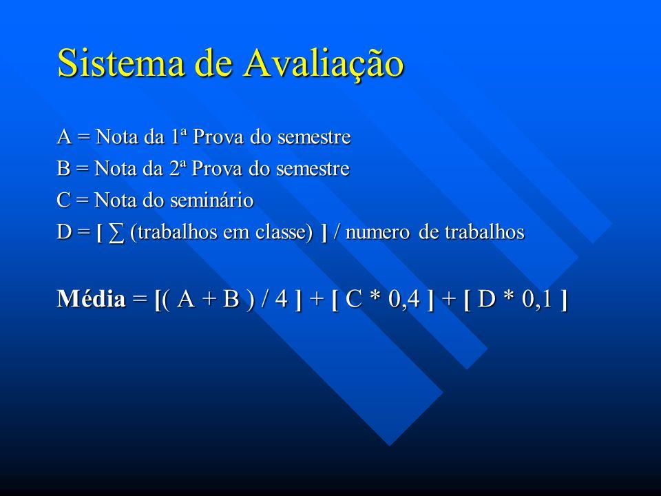 Sistema de Avaliação A = Nota da 1ª Prova do semestre. B = Nota da 2ª Prova do semestre. C = Nota do seminário.
