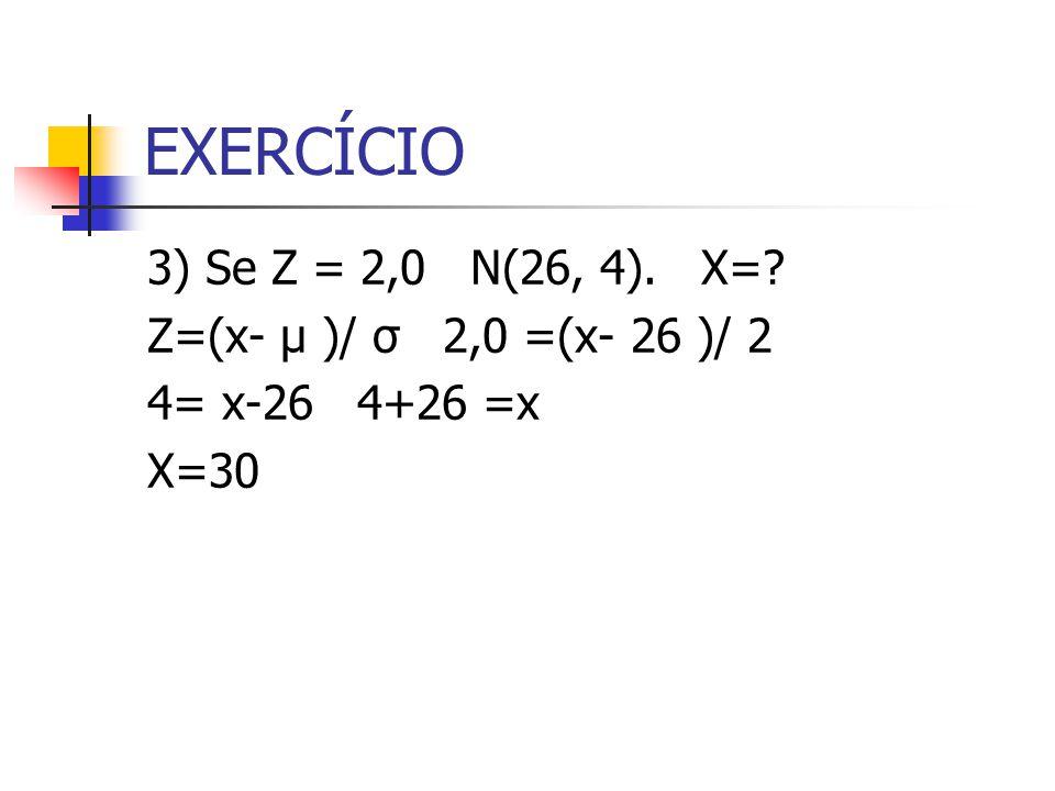 EXERCÍCIO 3) Se Z = 2,0 N(26, 4). X= Z=(x- μ )/ σ 2,0 =(x- 26 )/ 2